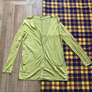 Anthro Moth Oversized Linen Blend Cardigan Yellow
